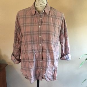 Lucky Brand plaid fine-wale corduroy top